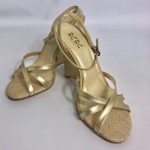BCBG Gold Wedge Summer Heels Size 7